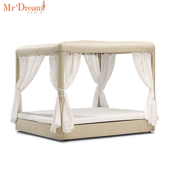 High End Luxury King Size Square Rectangular Bamboo Rattan Garden Line Outdoor Beach Hotel Canopy Bed