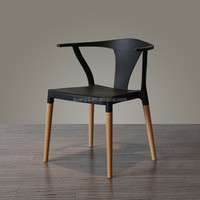 Replica Famous designer Hans Wegner Y chair with plastic seat and wood leg