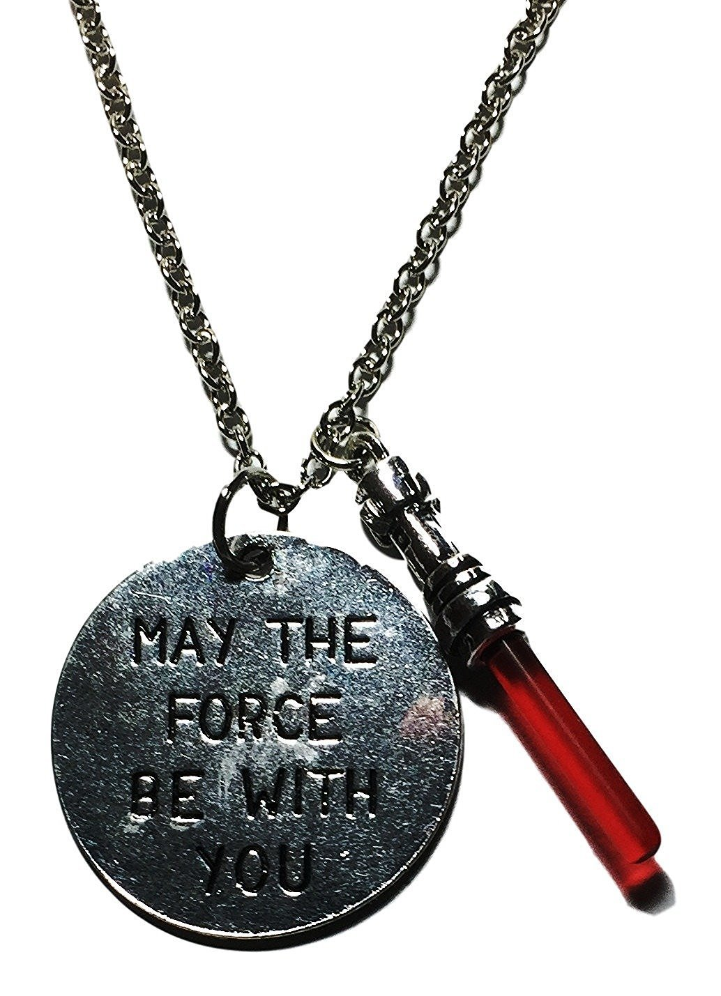 """Star Wars Dark Side """" May The Force Be With You """" Charm Necklace"""
