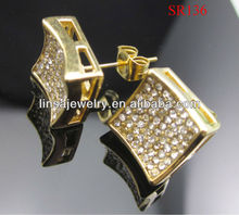 Hot Sale Gold Micropave Crystal Jewelry Stainless Steel Stud Earrings