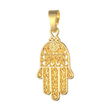 14k Yellow Gold Zinc Alloy Filigree Hamsa Hand Jewish Jewelry Charms With Bail Ring