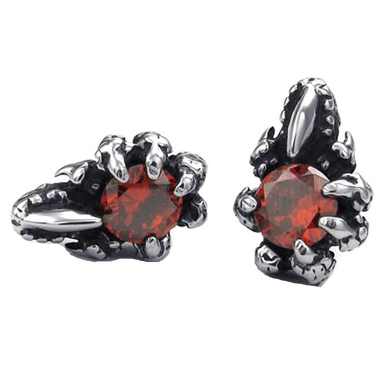 Beydodo Cubic Zirconia Earrings Studs Gold Plated Earrings for Babies Flower Round Red Cubic Zirconia