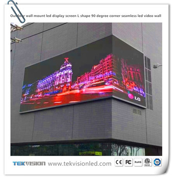 Outdoor Wall Mount Led Display Screen L Shape 90 Degree