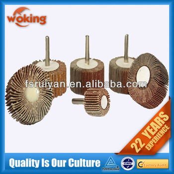 Abrasive flap wheel with shaft for grinding metal hole