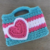 fashion women crochet hand bag with heart pattern