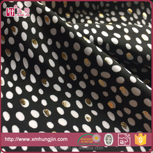 white and black polka dot gold print swimwear fabric