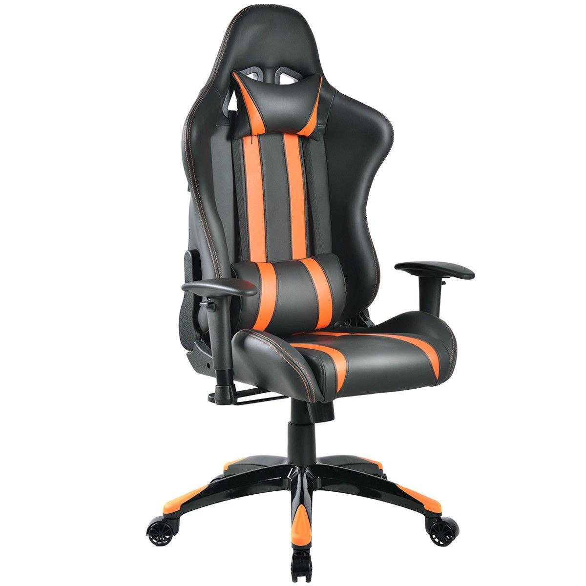 "GHP Orange & Black 26.8""Wx31.5""Dx47.6""-51.6""H Racing Style Reclining Gaming Chair"
