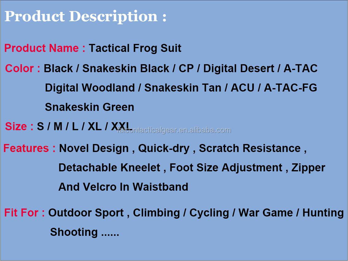 טקטי צפרדע חליפת הסוואה צבא צבאי עם הברך כרית