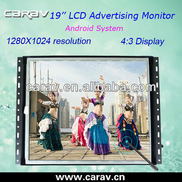 Android LCD TV Advertising Player 19'' With HDMI,RJ45,CVBS,MICRO SD Input