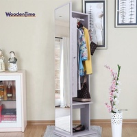 Bedroom wooden wall mount hung rotating storage mobile push-on coat rack /full length mirror jewelry cabinet with wardrobe