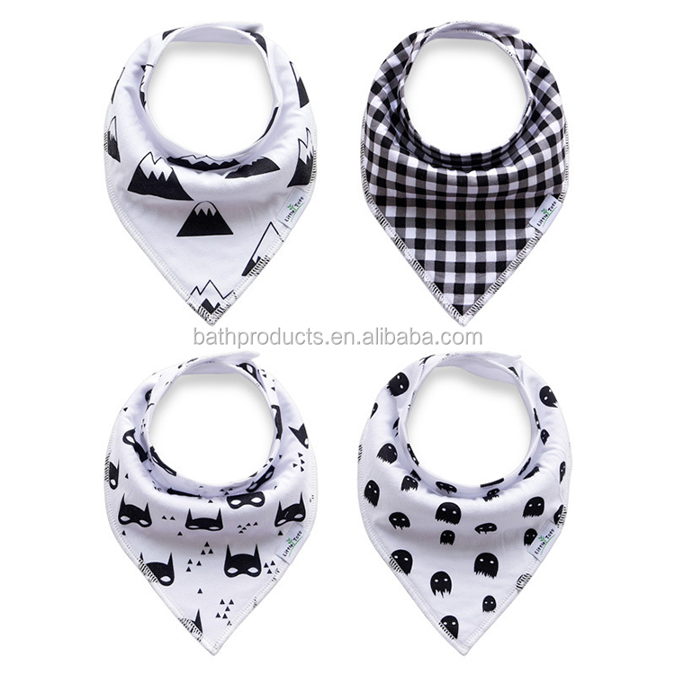 Wholesale printed 4 pack Velcro snap cotton baby bandana bibs with pacifier band