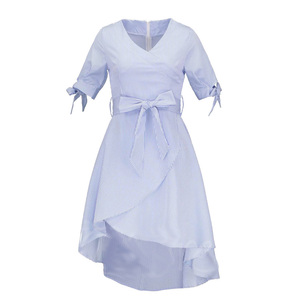 Summer Blue Short Sleeve Belt Waist Day Lady Alibaba Dress