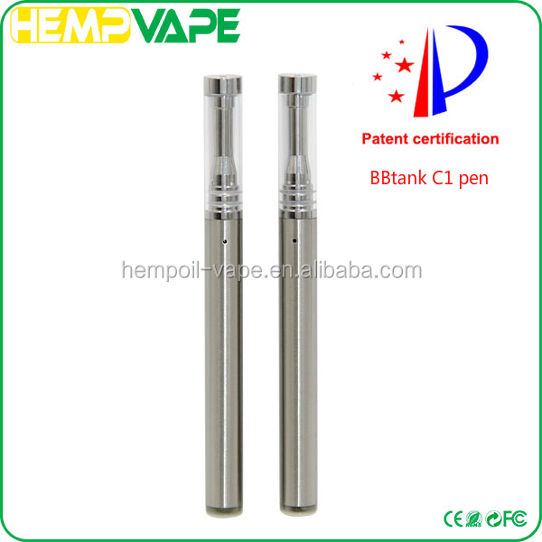 2017 New wholesale BBTank C1 Slim E Cigarette hemp O-Pen 510 Buttonless Cartridge 0.5ml ceramic coil glass Disposable Vape