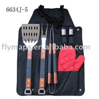 Hot selling 6pcs BBQ grill tool set and barbecue accessories with apron bag&long