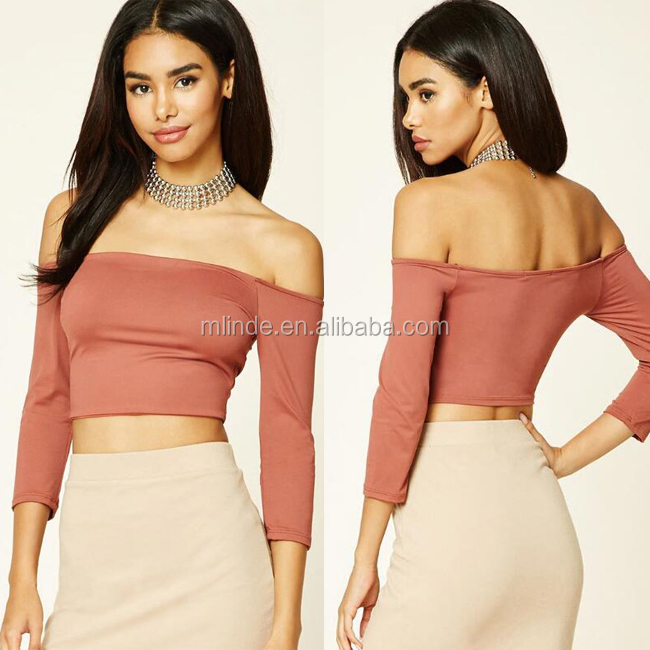 Brand Fashion Sexy Ladies Crop Tops Knit Off The Shoulder New Style Summer Vest Bodysuit Short Tee Womens Crop Top