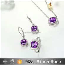 unique purple amethyst jewelry set 18k white gold plated jewelry set