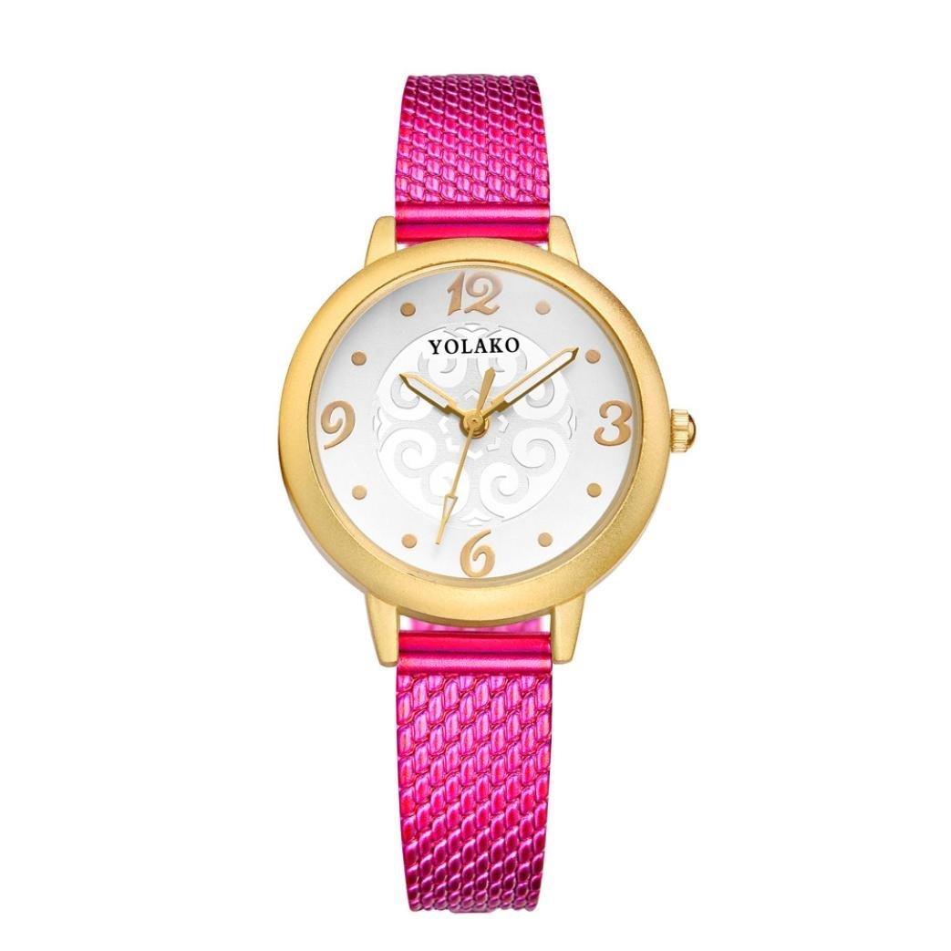 BEUU Fashion Women' Digital Wrist Watches Simple Design Round Dial Durable Rubber Band