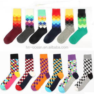 custom made different kinds of colourful dress happy socks men wholesale