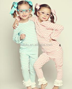 Wholesale Girls Chevron Ruffle Pajamas Baby Toddler Christmas ...
