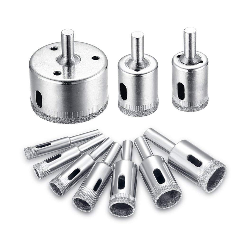 Diamond Drill Bit Set,Glass and Tile Cutting Tools Core Saw Bits for Round Ceramic,10pcs/Set Porcelain Drill Bits Set Block Extractor Tool,3/4/5/6/7/10/12/18/32/50mm