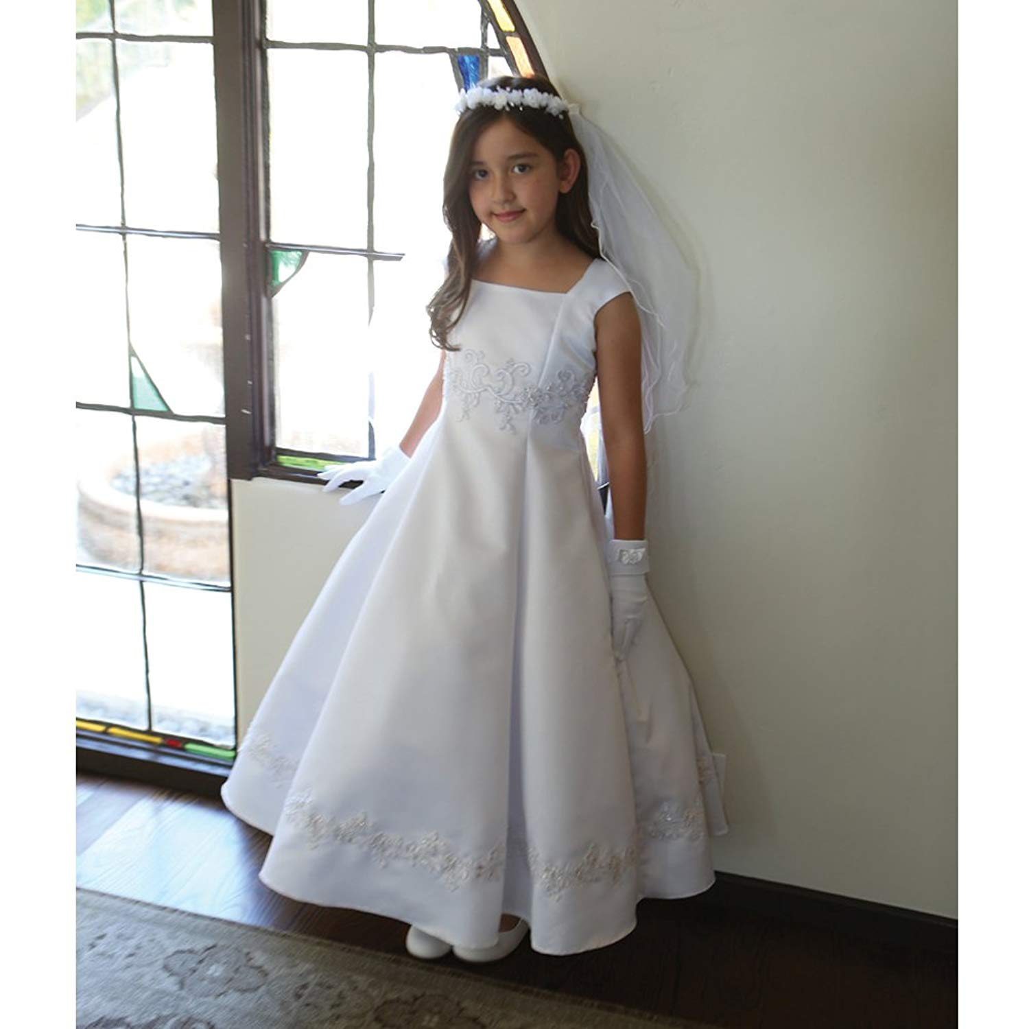 Angels Garment Big Girls White Embroidered Appliques Communion Dress 7-18
