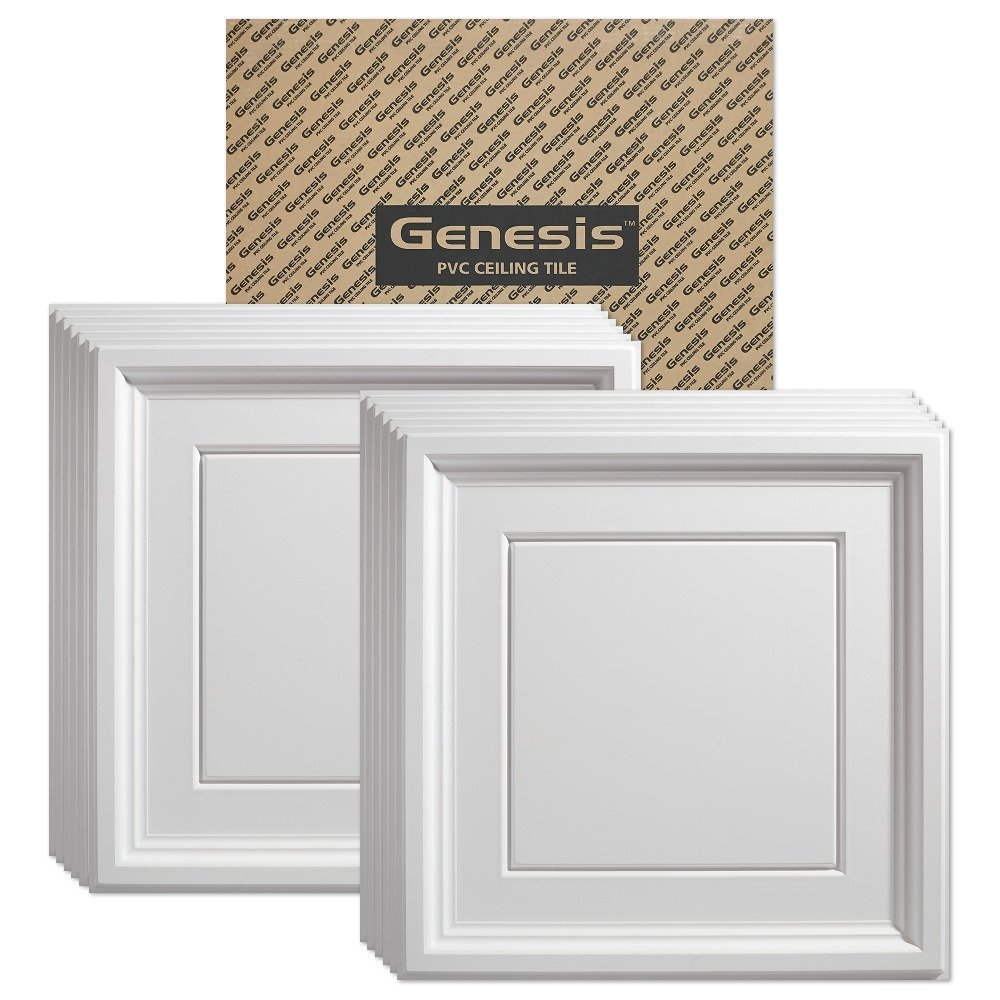 Genesis - Icon Coffer White 2x2 Ceiling Tiles 3 mm thick (carton of 12) – These 2'x2' Drop Ceiling Tiles are Water Proof and Won't Break - Fast and Easy Installation and a Great Alternative to Acoustical Ceiling Tiles - 25 Year Warranty (2' x 2' Tile)
