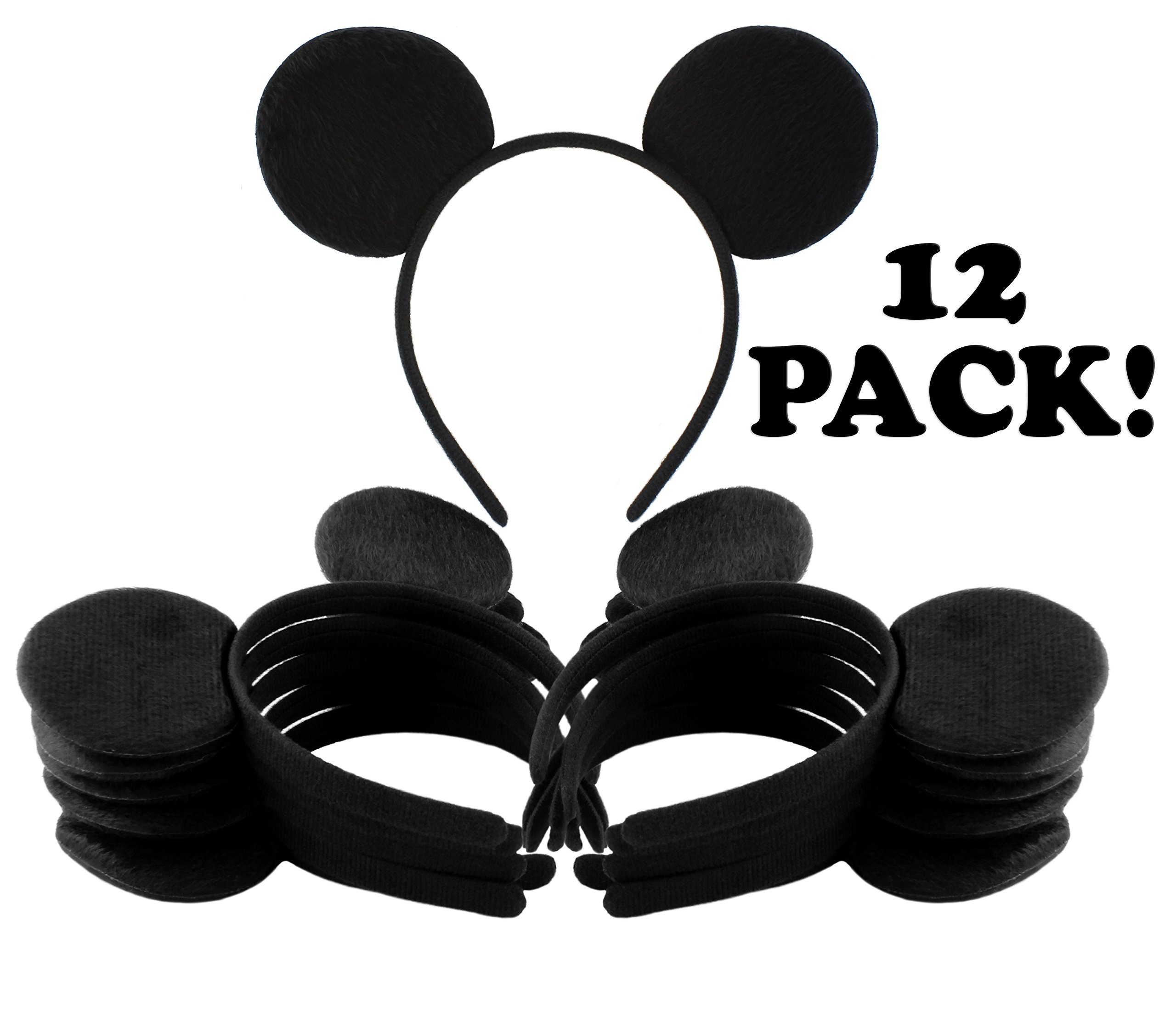 Get Quotations · Black Mouse Ear Headbands (12-Pack)  Mickey Style Headgear  for Costume  de4fac363b0