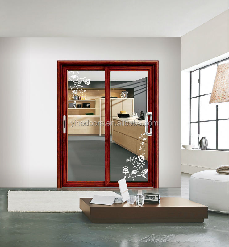 Red Peach Large Sliding Aluminum Door For Living Room