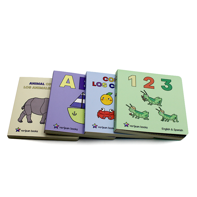 Print english learning cardboard book for kids coloring board book children story books printing factory