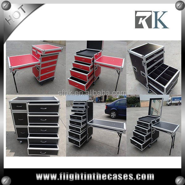 Multifunctional 8 Drawer Flight Case with DJ Table and Wheels--RK8DRAWER58TC