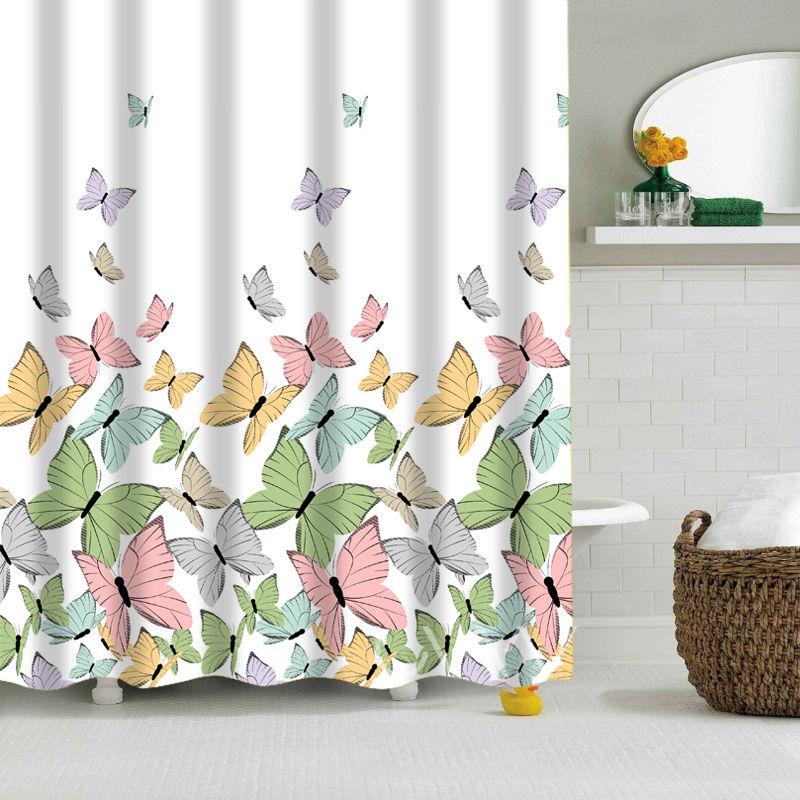 Designer Custom Design Erfly Digital Printing Shower Curtain