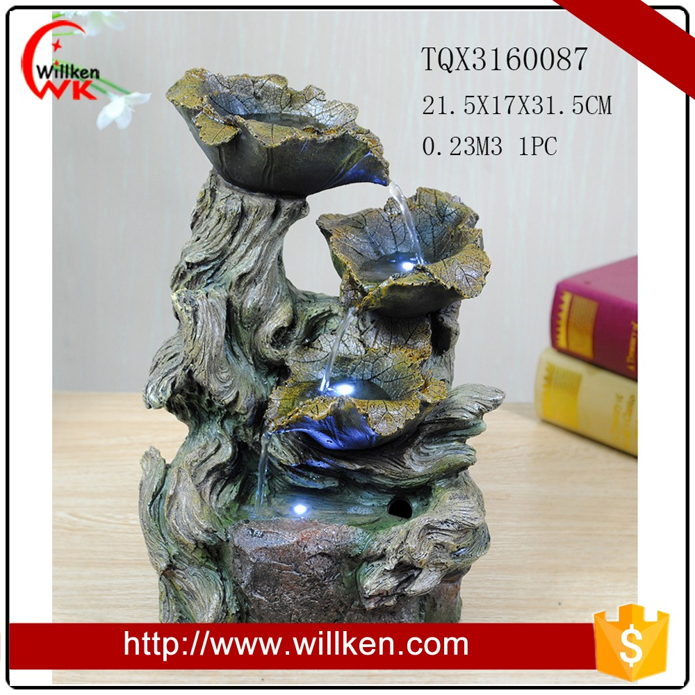 Resin leaves waterfall fountain for garden decoration