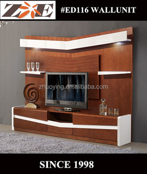 TV LCD WOODEN CABINET LAMINATE MDF PANEL TV WALL UNIT CABINET DESIGNS