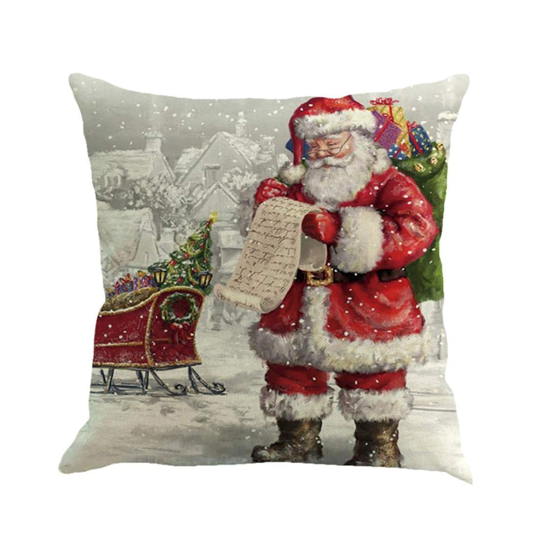 Throw Pillow Covers, E-Scenery Clearance Sale! Santa Claus Christmas Printing Square Decorative Throw Pillow Cases Cushion Cover for Sofa Bedroom Car Home Decor, 18 x 18 inch (H)