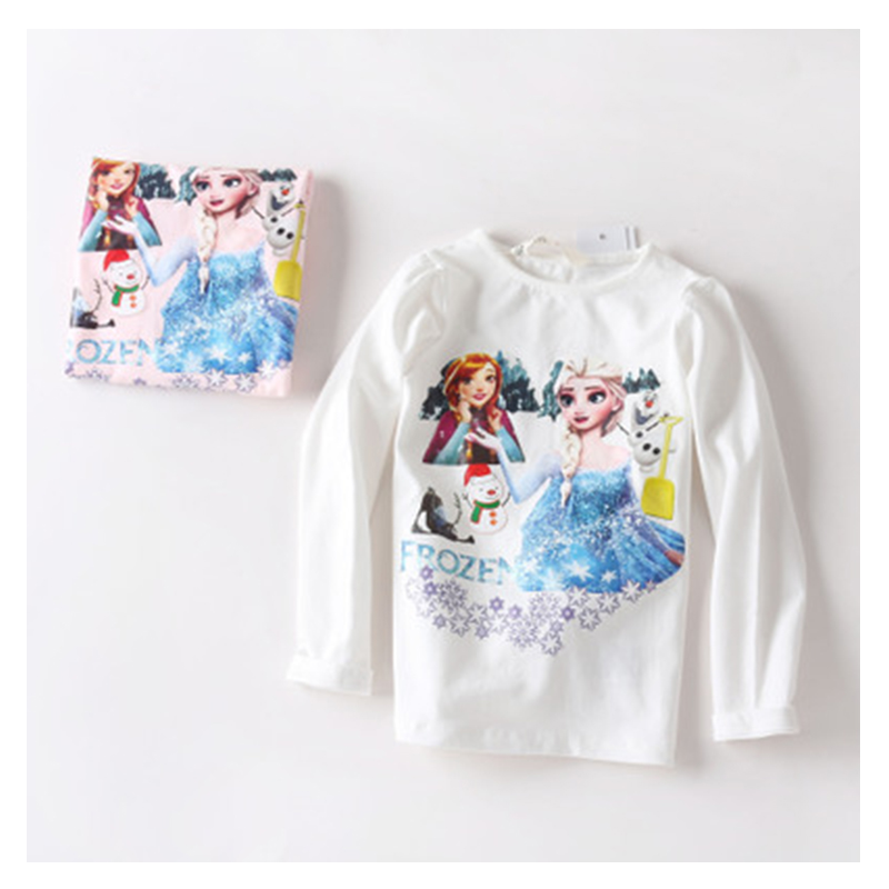c036 2017 Wholesale cartoon Printed Cotton Child Slim Fit O-Neck Long Sleeve T-Shirt