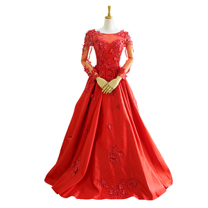 RSM66409 long sleeve lace appliques sequined red prom dresses women party elegant evening dress