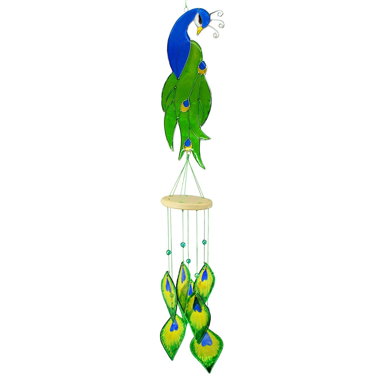 The Crabby Nook Peacock Stained Glass Suncatcher Sun Catcher Wind Chime