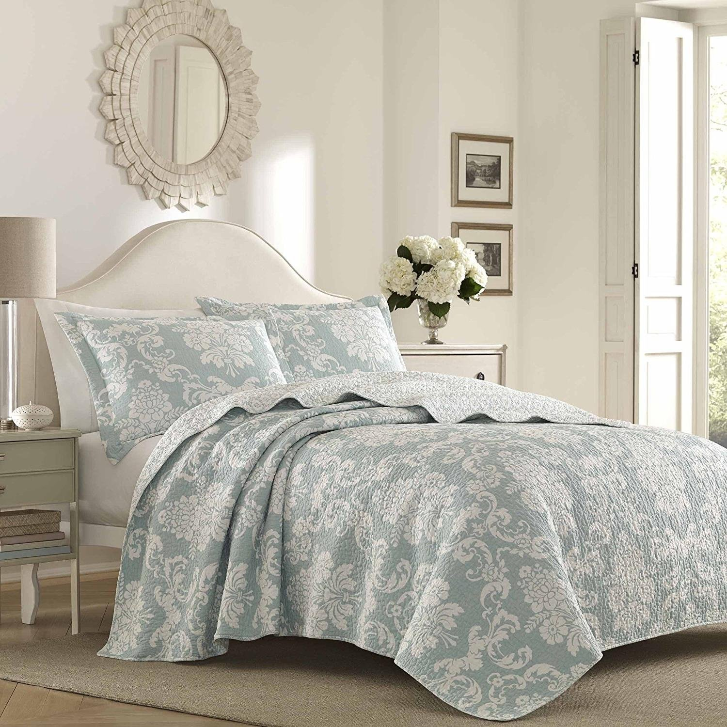 MISC 2pc Blue Damask Twin Size Quilt, Cotton, Floral White Grey Bohemian MotifChic, Bedding, Vintage Victorian Indie Modern, Flowers Cottage Cabin Lake House