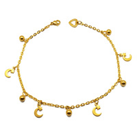 Fashion Moon and Star Design Gold Chain Anklet Feet Jewelry Hotwife Baby Stainless Steel Indian Anklets