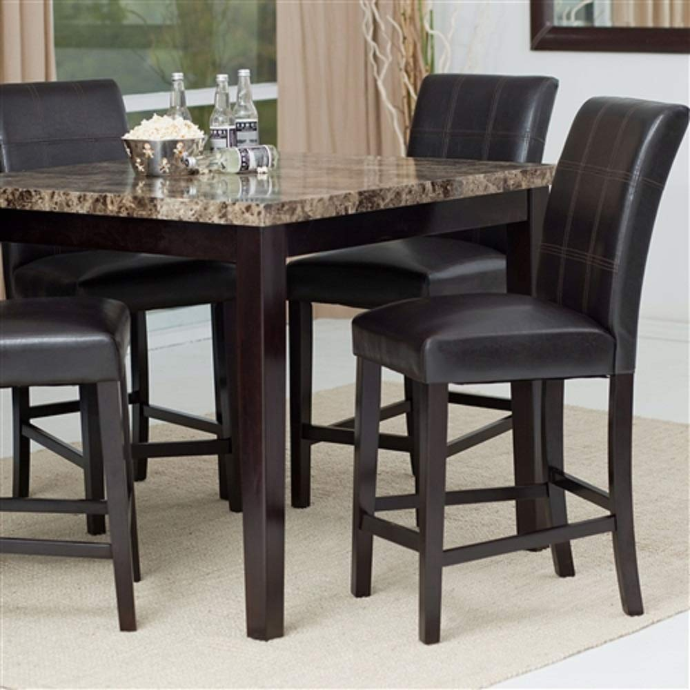 MyEasyShopping Counter Height 5-Piece Dining Set with Faux Marble Top Table and 4 Faux Leather Chairs Buffet Piece Furniture