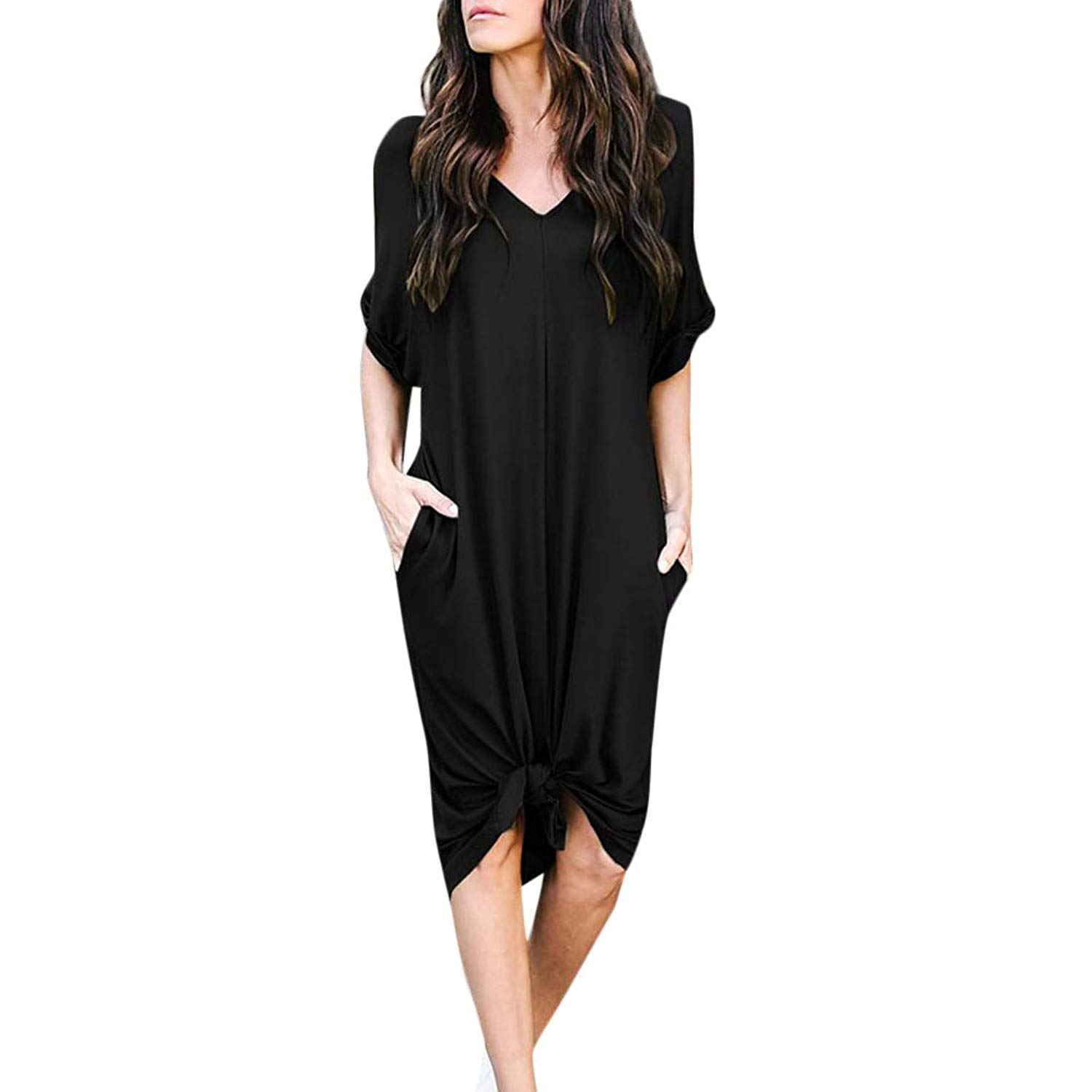 4822547f16 Get Quotations · Realdo Women's Solid Slip Dress, Casual Sexy Ladies Loose  V Neck Short Sleeve Knee-