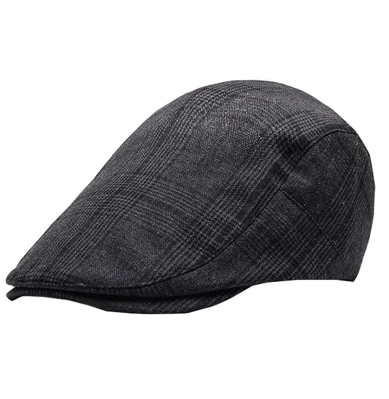 Vocni Mens duckbill Herringbone Otton Classic Plaid Flat Caps IVY Cabbie  Driving newsboy Cabby Hat 3c915dd3edd