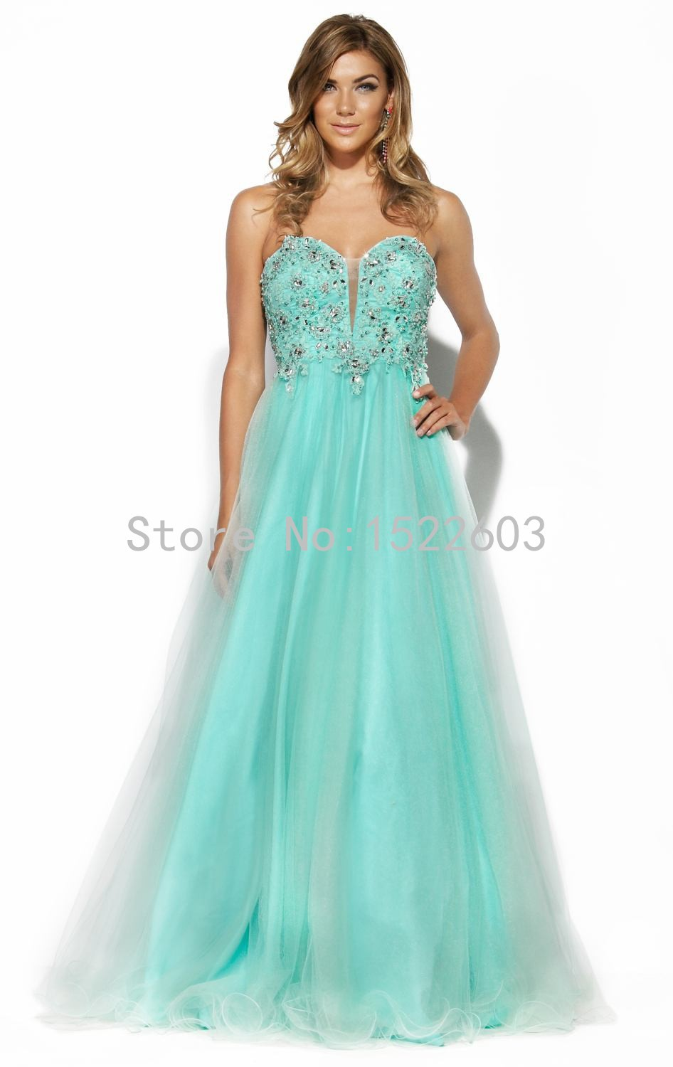 2015 Alluring Sweetheart Mint Green Sleeveless Long Prom Dresses Tulle Beading Formal Sexy Evening Gown Custom party Dress A2097