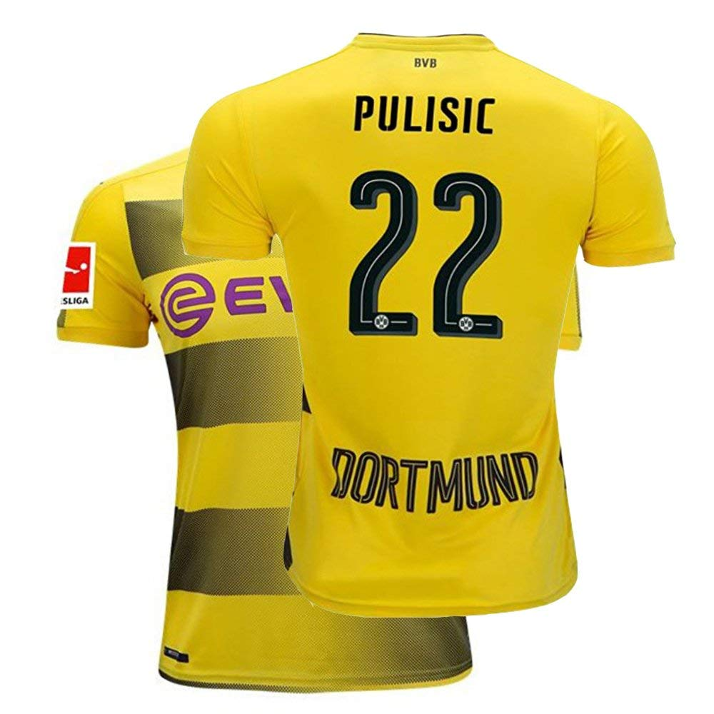 5bc6d62b0 Get Quotations · Fcdraon Mens Pulisic Jersey 2017 18 Borussia Dortmund  Christian 22 BVB Home Adult Soccer Yellow