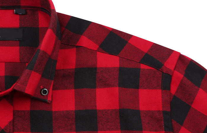 OEM black check shirt mens red flannel shirt