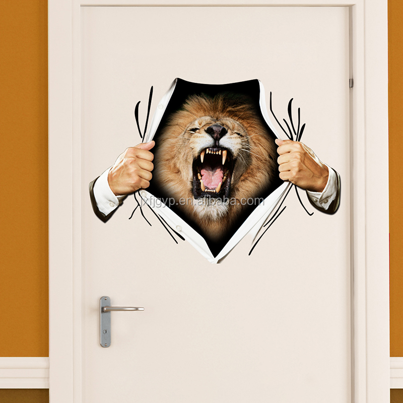 Best selling craft animal decoration art lion head design 3d door sticker <strong>fashionable</strong>