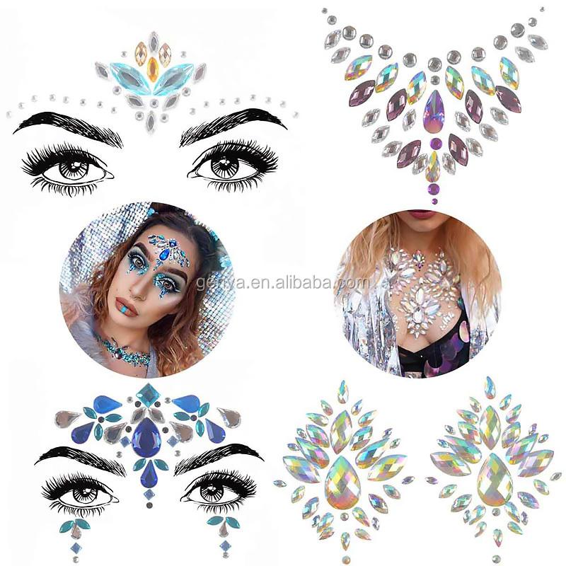 Genya Strass Meerjungfrau Gesicht Juwelen Temporäre Tattoo Aufkleber Kristall Gesicht Edelsteine Steine