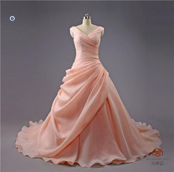HMY-E290 High End Custom Factory V Neck Flowing Romantic Ruffled Pink Wedding Dress China Custom Made