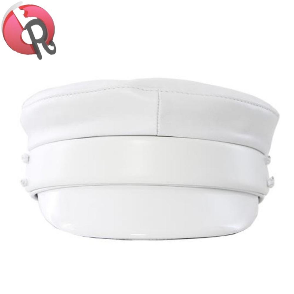 2018 hot sell popular Modern white Greek Sailor Baker Boy Hat Patent  Leather Trim Fiddler Cap 657ef2265e5