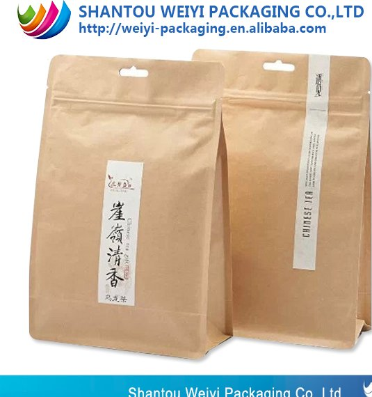 wholesale dry food/fruit packaging bag/ziplock stand up brown kraft paper bag with clear window